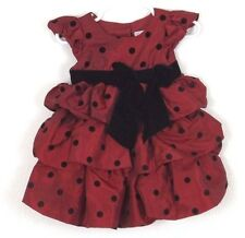 Party Dress 18 Months Baby Toddler Girl Red Maroon Black Polka Dot Cap Sleeve