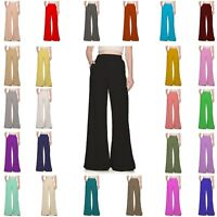 WFPP Women Ladies Full Pocket Palazzo Plain Wide Leg Baggy Trousers Pants