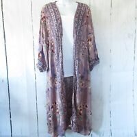 New Angie Duster Kimono M Purple Crochet Puff Sleeve Prairie Boho Peasant