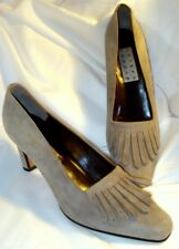 """JOSEPH ABBOUD WOMAN 9.5 M GRAY SUEDE LEATHER KILTIE PUMP 3"""" HEEL SHOES ITALY NEW"""
