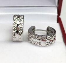 18k Solid White Gold Hoop Sparkle Earrings Diamond Cut Design 2.25 Grams
