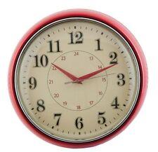 Clayre & eef Küchenuhr rot rund Uhr retro Design Wanduhr 28 cm Metall 51949