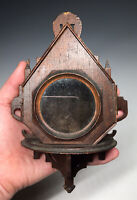 Antique 19th C. Victorian Wooden Hand Carved Pocket Watch Wall Display w/ Velvet