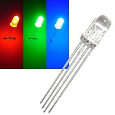 10 LEDs RGB 5mm Rojo Verde Azul controlable 4-pin LED 3chip, multicolor
