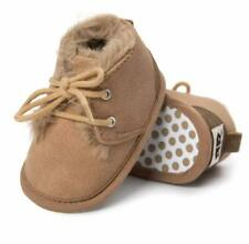 Baby Boy Suede Warm Lined Boots - Anti- Slip - Soft Sole - Crib Shoes