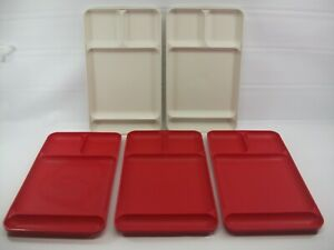 """Tupperware Lunch Serving TV Trays Lot of 5 Red Beige 9"""" x 15"""""""