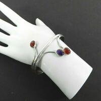 """Vintage Bracelet Modernist Carnelian Stone Fancy Solid 925 Sterling Silver 6"""""""