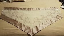 3 sheer window valences off white with floral design and taupe satin trim. EUC