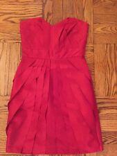 MAX & CLEO Taffeta Pleated Dress Red Size 4 Orig. $148 NWT
