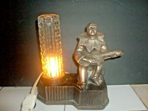 PIERROT CLOWN JESTER LAMP art deco nouveau 1930's SPELTER ORIGINAL GLASS SHADE