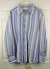 Geoffrey Beene Men's Blue/Tan Striped long Sleeve Button Down Shirt XL (*LS070)