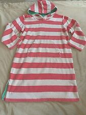 MINI BODEN TERRY CLOTH HOODED BEACH DRESS COVER UP 7 8 PINK WHITE STRIPE