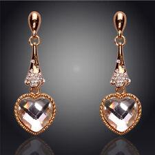 GORGEOUS 18K GOLD PLATED CLEAR CUBIC ZIRCONIA HEART LONG DANGLE/DROP EARRINGS