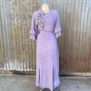 M Purple Dress Triple Tier Dress Grape Purple Crepe over Satin Lining