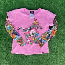 Harley Davidson Tattoo Shirt Toddler 4T Pink  Biker Long Sleeve Girls