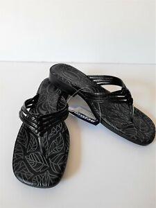 Aerosoft Women's Original Comfort Strappy Thong Slip On Sandals Black Pick Size