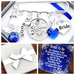 LUCKY SIXPENCE, BRIDE WEDDING, Kilt Pin Charm KEEPSAKE GIFT BOX & CARD