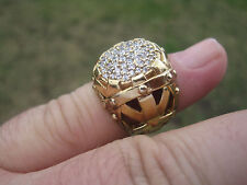 Stunning Sterling Silver Gold Vermeil Ring with CZ Stones, Signed, Size 5.25
