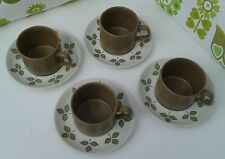 Vintage J & G Meakin Olive Green 'Maidstone' Set of 4 Cups and Saucers  (16)