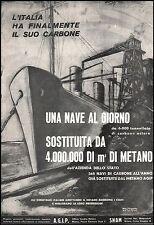 PUBBLICITA'1952 AGIP SNAM ENI CARBONE METANO POZZO MATTEI NAVE PORTO INDUSTRIA