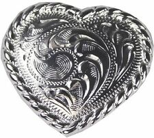 Western Equestrian Decor Bright Silver Rope Border Heart Concho 1 1/2""