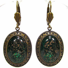 SoHo® Ohrhänger Biedermeier bohemia Glas gold grün handgemachtes Glas 1960er