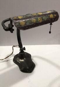 Antique Handel Brass Bronze Desk Lamp Tole Painted Metal Shade