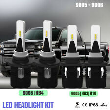 4x LED Headlight Kit 9005 9006 Hi/Lo Beam For GMC Envoy Chevy Silverado Tahoe
