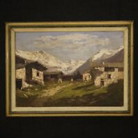 Painting framework Italian oil on canvas signed landscape frame antique style