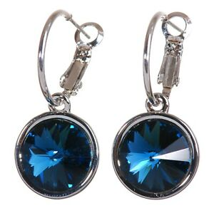 Crystals From Swarovski Blue Harley Pierced Earrings Rhodium Authentic 7165a