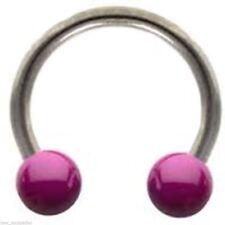"""Horseshoe Ear Lip 14 Gauge 7/16"""" w/Ceramic Purple 5mm Balls Steel Body Jewelry"""
