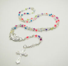 Free INRI silver Jesus Pendant multicolor Glass Prayer beads Charms Necklaces