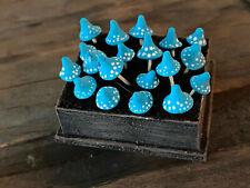 Vintage Miniature Dollhouse Artisan Halloween Crate Sculpted Blue Toadstools