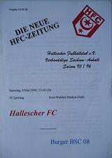 Programm 1995/96 HFC Hallescher FC - Burger BSC 08