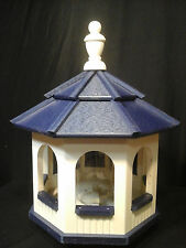 Vinyl Gazebo Bird Feeder Amish Homemade Handmade Handcrafted Ivory & blue med