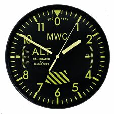 "MWC Aircraft Altimeter Military Wall Clock 9""/22.5cm with Silent Sweep Movement"