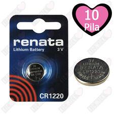 10 BATTERIE A BOTTONE PILE CR1220 3V LITIO RENATA