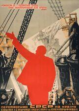 Soviet Constructivism COMMUNISM & ELECTRIFICATION Russian Propaganda Poster