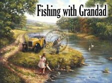 Fishing with Grandad. Vintage Car in Old England. Large Metal/Steel Wall Sign