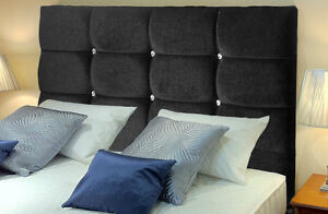 Deluxe Bed Headboard Chenille Fabric Designer High Quality Diamante All Sizes