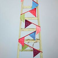 Recycled Sari Bunting Flags Garland Multicoloured Party Garden Home Decoration