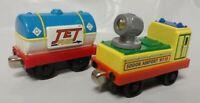 Jet Fuel Tanker + Spotlight Car Thomas Metal Diecast Take Along Train Lot Bundle