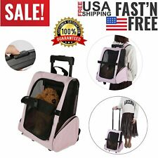 Pet Carrier Cat Dog Rolling BackPack Portable Travel Airline Wheel Luggage Bag