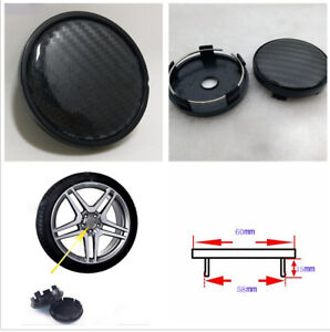 4 X 60mm Across Top Diameter Black Carbon Fiber Pattern Car Wheel Hub Center Cap