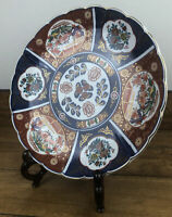 Antique Japanese Imari Scalloped Edge Porcelain Charger Plate 12 Inch