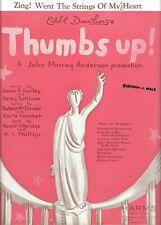 "James F. Hanley ""THUMBS UP!"" Eddie Dowling / Jane Pickens 1935 Sheet Music"