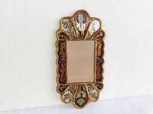 Vintage Or Antique Small Reverse Painted Wall Mirror Peru