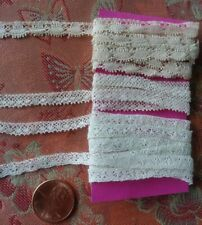 """3 tiny thinAntique Lace Val Trim 4+ yards edging narrow lot .25"""" wide"""