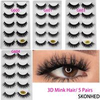 SKONHED 5 Pairs 3D Mink Hair False Eyelashes Thick Long Cross Lashes Wispy
