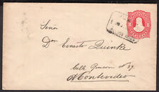 2575 ARGENTINA TO URUGUAY PS STATIONERY ENVELOPE 1887 JUNIN - MONTEVIDEO